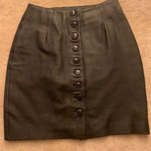 Vintage Leather Pencil Mini Skirt